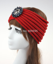 Boho Chunky Knitted Headband Ear Warmer Bohemian Headwrap Turban Beaded Headband Turban