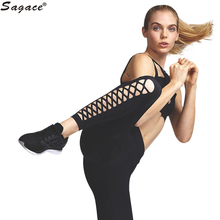 Trendy Women Sexy Pierced Cropped Leggings Girls Casual Exercise Thin Skinny Pants Black Elastic Trousers Female Quick Dry Sep13