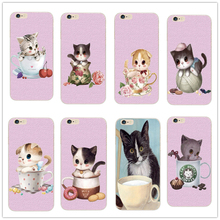 2016 New product For Apple iPhone 4 4S 5 5S 5C Mobile phone protection shell cute cat cups design Case Cover Exempt postage
