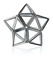 Buckyball 27PCS Steel Balls With 36PCS Magnetic Sticks Neodymium Puzzle Magic Cube Balls Toy for Geometric Model - Silver