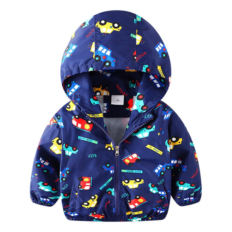 COOTELILI 80-130cm Cute Car Printing Kids Boys Jacket 2018 Spring Hooded Children Clothes Active Girls Windbreakers  (7)