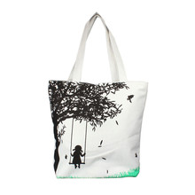 Creative lovely bag as gift for lively girl Girl On Swing Canvas Bag Casual Women Messenger Shoulder Bag Handbags quality F28