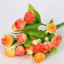 15 Head Rose Tea Buds Bouquet Pearl Bridal Flowers Artificial Peony Silk Flower Wedding Party Flower Arrangement Decoration Hot(China)