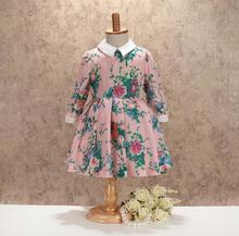Promotion Dazzel Long Sleeve Fall Dresses For Girls Princess, Children Baby Cotton Elegant Dress  5 pcs/lot, Wholesale