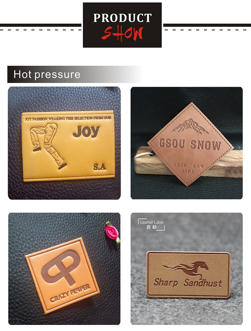 factory private customzied PU leather embossed labels sewing on ladies clothes printing fashion handmade washable leather labels