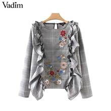 Vadim sweet ruffles floral embroidery plaid shirts Houndstooth long sleeve blouse vintage ladies casual chic tops blusas LT2414(China)