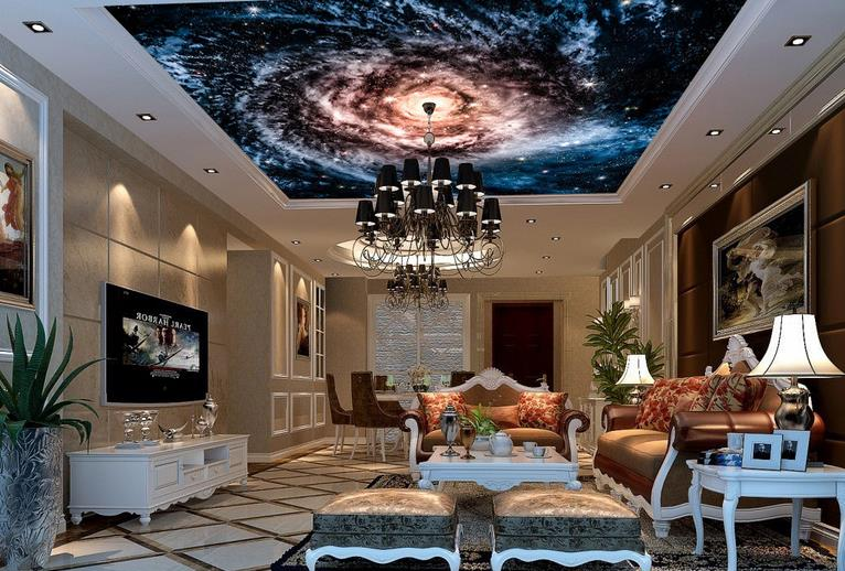 3d wallpaper for ceiling customized 3d wallpaper walls Planetarium ceiling murals wallpapers for living room<br><br>Aliexpress