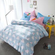 Cartoon lovely bunnies print linens 4pcs bedding sets high end cotton twin/single/double/queen size duvet cover set sheets sets(China)