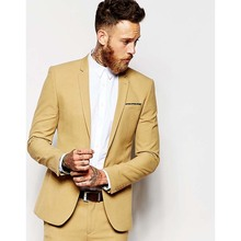 Casual yellow Men Suit Slim Fit Groom Tuxedos 2 Piece Mens Wedding Party Suits Groomsman Bridegroom Attire (Jacket+Pants) 2017(China)
