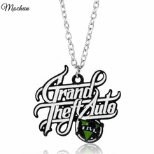 MQCHUN 2017 Hot PS4 GTA 5 Game Necklace Grand Theft Auto V Pendant Necklace For Men Boys Fans Link Chain Jewelry
