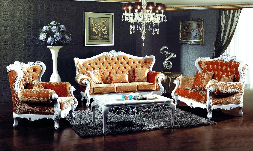 French Style Orange Color Fabric Sofa Sets Living Room Furniture,antique  Style Wooden Sofa From Foshan Market