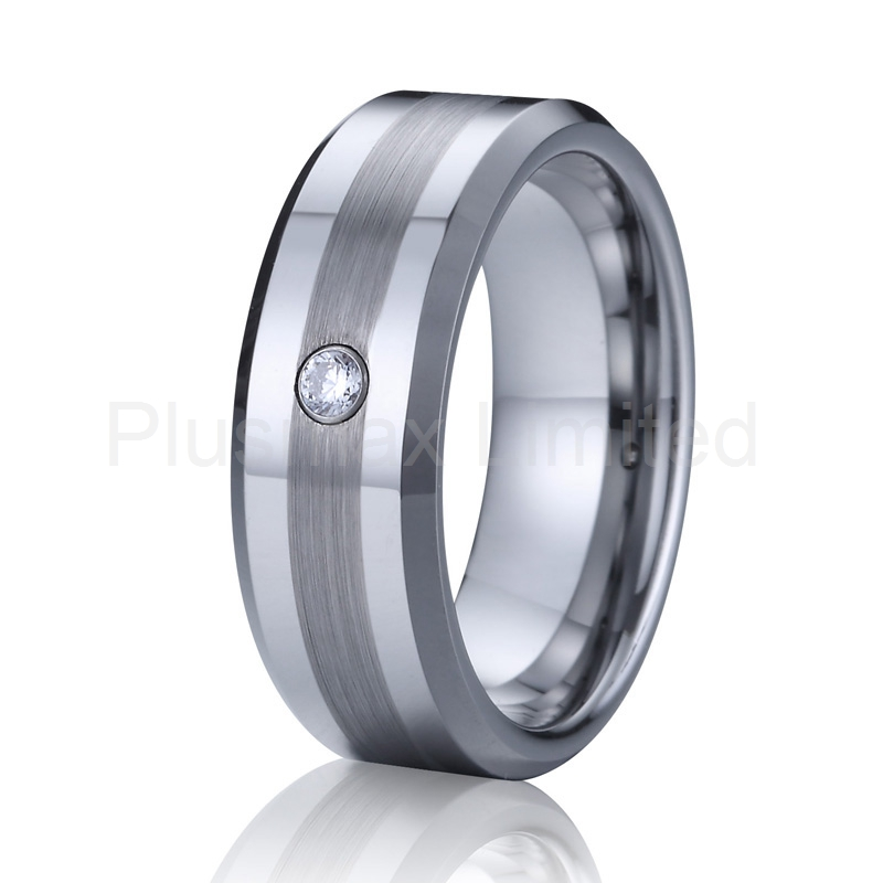 cz stone tungsten wedding band couple rings for men women silver color never fade free shipping online jewellery - Cheap Wedding Rings Online