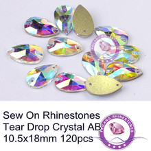 F691506 sew on crystals crystal AB crystals 10.5X18mm tear dorp shaped 2 holes 120pcs can be sewed on garment Free shipping CPAM(China)