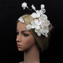 High quality Mini Hat White Lace Fascinator Flower Hair Clip Wedding Hats And Bridal Hair Acessories(China)