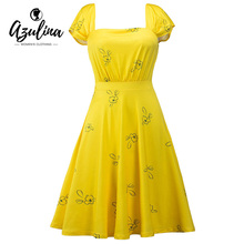 Buy AZULINA retro vintage floral print women dress 50s 60s rockabilly Audrey Hepburn party dress 2017 summer swing dress plus size for $10.99 in AliExpress store