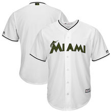 MLB Men's Miami Marlins Baseball White 2017 Memorial Day Cool Base Team Jersey(China)