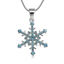 my shape Super Quality Crystal Rhinestone Paved Snowflake Pendant Necklace Winter Bridal Bridesmaid Christmas Holiday Jewelry