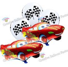 5pcs/lot Car Lightning McQueen Latex Balloons Foil Balloons  Party Supplies Baby Shower decorations helium balloon