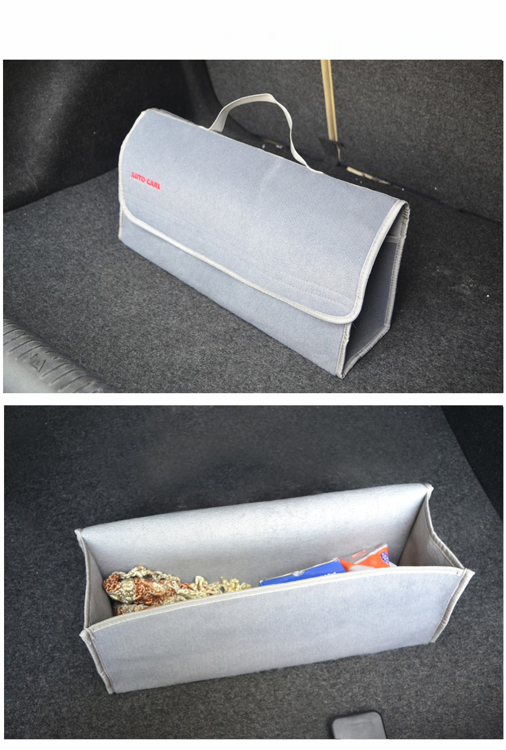 Auto Care Large Car Smart Tool Bag Grey Trunk Storage Organizer Bag Built in strong Velcrofix system holds to car carpet 6