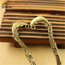 BoYuTe (10 Pieces/Lot) 26*124MM New Dolphin Bookmark Charms Antique Bronze Plated Alloy Pendant for Jewelry Findings Components(China)