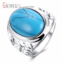 GNIMEGIL Brand Jewelry Women's Blue Turquoises Stone Ring Bezel Setting Ring Trendy Style Oval Shape Ring New Arrival Fashion