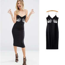 2017 Fashion Spaghetti Strap Sexy Club Women Dress Slim Bodycon Party Night Dresses high waist hand skeleton black printed(China)