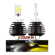 Dual Color 6000k 3000k White Yellow H1 H3 H7 H11 9005 9006 H27 880 881 Car LED Fog Light for Ford VW Honda Hyundai Toyota