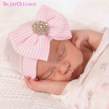 Newborn Hat Cute Rhinestones Big Bowknot Cap Baby Cotton Infant Soft Knit Striped Caps Girl Beanie Hats Accessories DejorChicoco