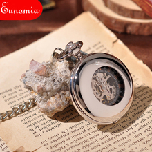 Hollow Roman Black Dial Men Silver Pocket Watch Mechanical Hand Winding Antique Army Skeleton Steampunk Watch Necklace Chain
