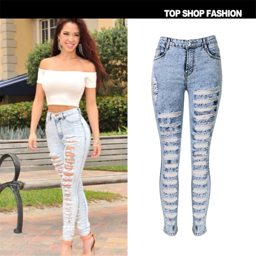 New Designer Denim Women 2017 High Waist Ripped Jeans for Women Skinny Jeans Woman Elastic Slim Jean Female FemmeОдежда и ак�е��уары<br><br><br>Aliexpress