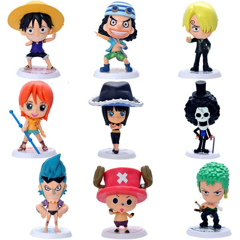 Anime One Piece Luffy Nami Frank Usopp Robin Chopper Zoro Brinquedos PVC Action Figure Juguetes Model Doll Kids Toys 9pcs/set<br>