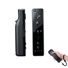 New Top Quality Black Wireless Remote+Silicone Case+Wrist Strap for Nintendo Wii(China)