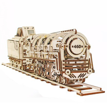 Free Shipping 1Piece Steam Locomotive With Tender Handmade DIY Mechanical Model Wooden 3D Puzzle Education Toys For Children