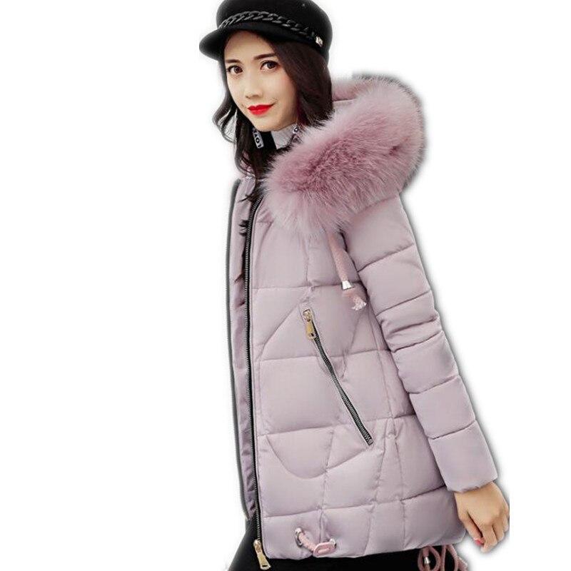 2017 New Fashion Winter &amp;Autumn Down Cotton Jacket Parka Female Hooded Size S-3XL Medium-Long Outerwear Slim Cotton Parka CQ547Îäåæäà è àêñåññóàðû<br><br>