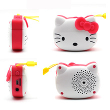 1PC New Hello Kitty Bluetooth Speaker KT Cat Cartoon Card Speakers TF Card Story Radio Car MP3 iPod iPhone Mobile Computer