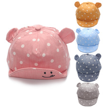 Dot Baby Caps New Girl Boys Cap Summer Hats For Boy Infant Sun Hat With Ear 2017 Sunscreen Baby Girl Hat Spring Baby Accessories(China)