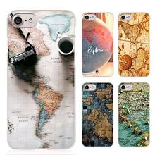 World Map Travel Plans Clear Cell Phone Case Cover for Apple iPhone 4 4s 5 5s SE 5c 6 6s 7 7s Plus
