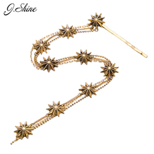 Long Vintage Alloy Charms Flower Pendant Women Hairwear Iron Antique Gold Color Fashion Hair Wear Hair Wedding Accessories