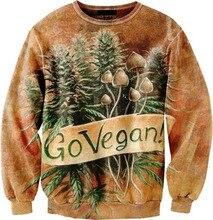 New 2016 women/men hoody go vegan weed leaf hoodies hip hop 3d crewneck sweatshirt Hoody Harajuku style Pullover size S-3XL