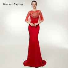 Elegant Sheer Red Mermaid Beaded Evening Dresses 2018 with Shawl Formal  Women Engagement Party Prom Gowns abiye gece elbisesi b72a255ff926