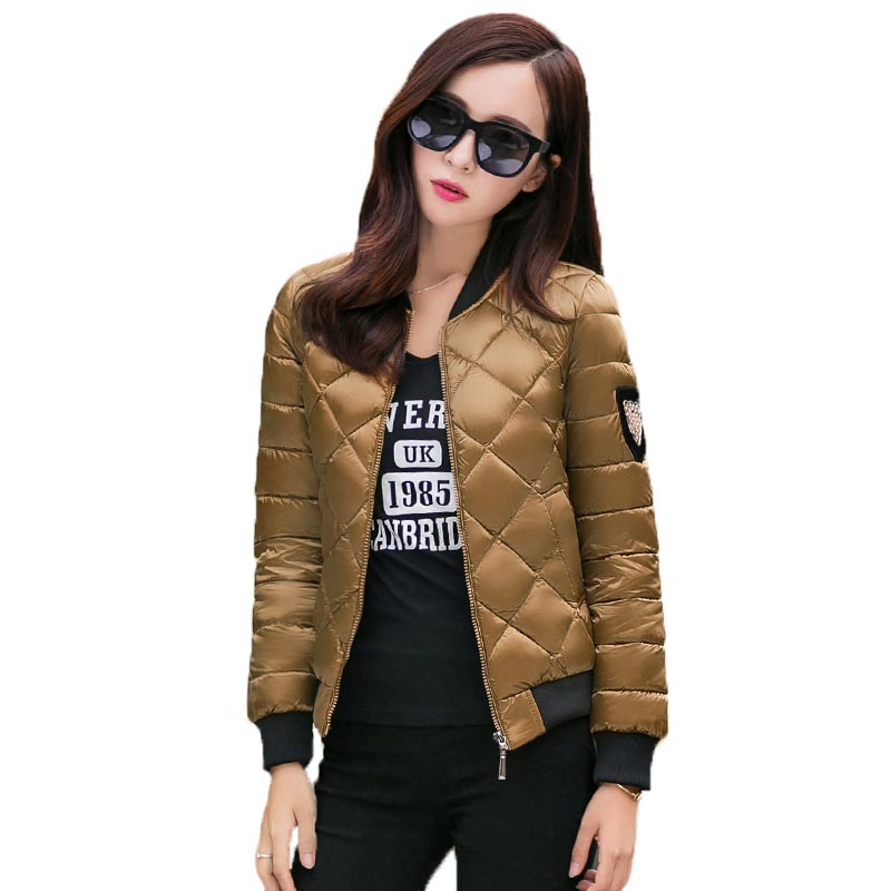Spring Autumn Women Cotton Coat Stand Collar Short Padded Jacket Patch Design Argyle Slim Outwear Women Jackets and Coats PW0604Îäåæäà è àêñåññóàðû<br><br>