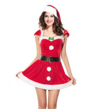 Sexy Red Christmas Fancy Mini Dress Miss Santa Claus Costume Women Xmas party Outfit Waist And Hat