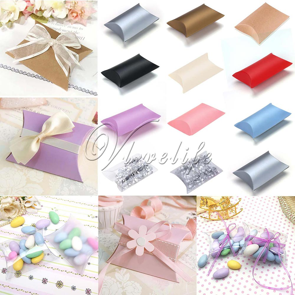 50pcs/lot New Style Pillow Shape Box Candy Box Gift Box for Wedding Party Favor Decor Paperboard / PVC /Brown Kraft Wholesales(China (Mainland))
