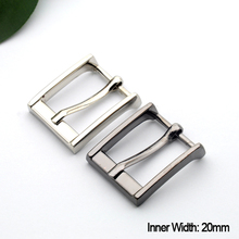 20pcs/lot 20mm 0.75inch high polish metal alloy belt buckle simple men lady pin buckle shinny silver/black free shipping BK-068(China)