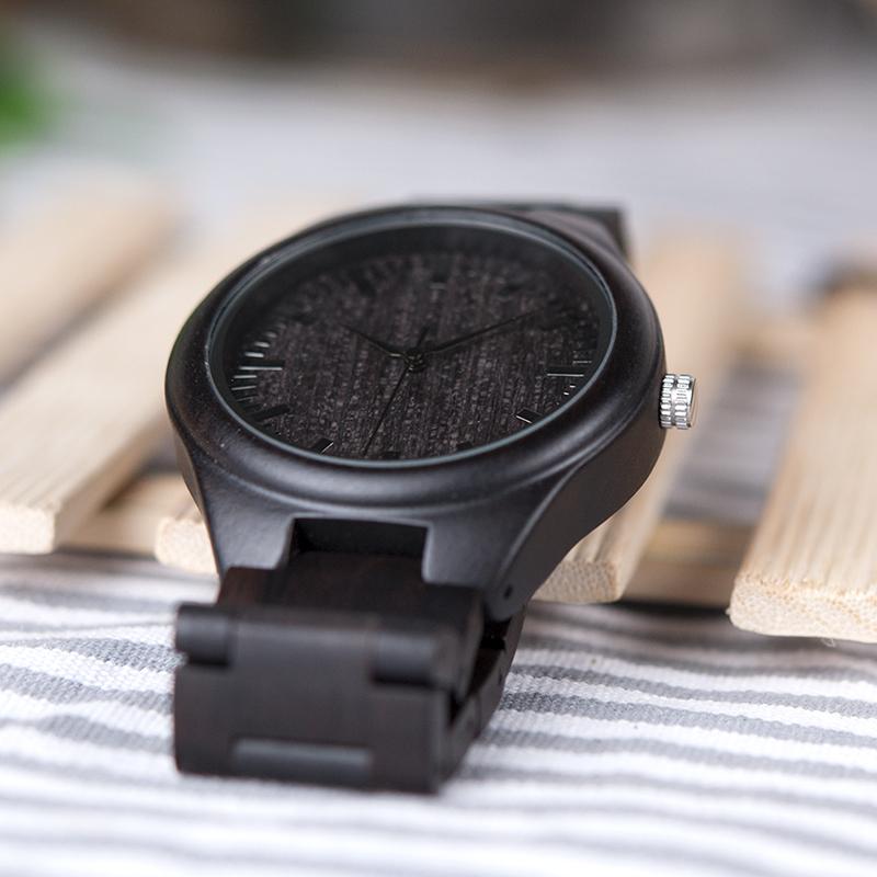 BOBO BIRD Mens Black Ebony Wooden Watches Wood Links Causal Quartz Wrist Watch in Gift Box custom logo 12