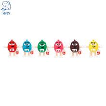 KRY cute cartoon M chocolate beans USB2.0 4GB 8GB 16GB 32GB 64GB Usb flash drive Pendrive memory stick pen U disk free shipping(China)