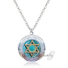 Drop Shipping 1pc Golden Star of David necklace Mogen David photo locket pendant silver chain Judaism,Solomon seal,Jewish Gift(China)