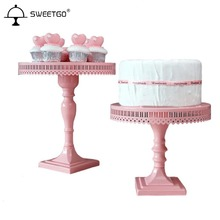 12 inch/ 10 inch Pedestal Cake Stand, Pink Decorative Dessert Stand and Tray for Tea, Birthday and Wedding Party Cupcake Display