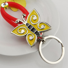 Funny Gift Home Butterfly Keychain Metal Car Key Ring Key Holder for Ford Ecosport Fiesta Fiat Punto Ferrari GMC Crosstour LADA(China)