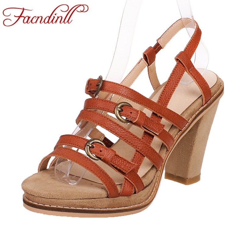 FACNDINLL new 2018 summer fashion women sandals shoes genuine leather high heels peep toe shoes woman gladiator dress sandals<br>